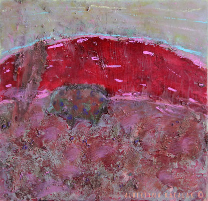 Pink hill, 70x70cm, oil, resin on canvas, 2014 , not available