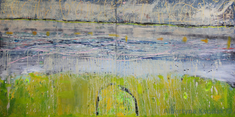 Waiting for the rain, 300x150cm - diptych, oil, resin on canvas, 2015, not available