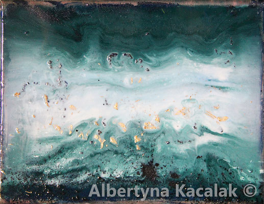 Sea stories 1, 24x18cm, oil, resin on canvas, 2019