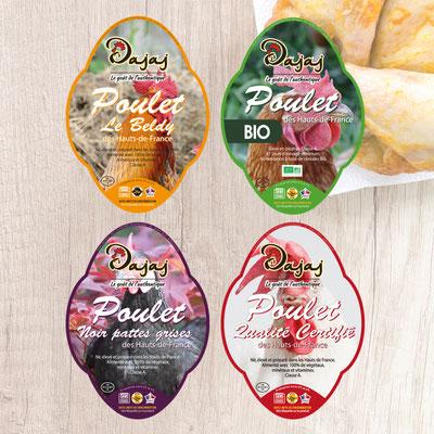 Création d'étiquettes pour différentes gammes de poulet