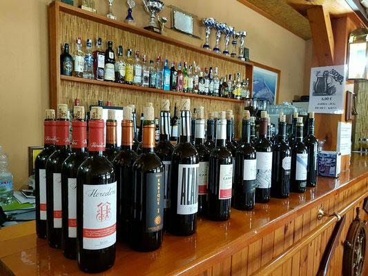 - die 9 Sorten Rotwein für die Probe