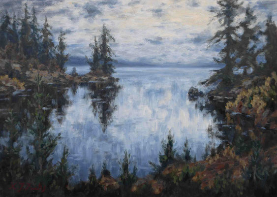 Abend am See   Öl auf Leinwand   50 x 70 cm