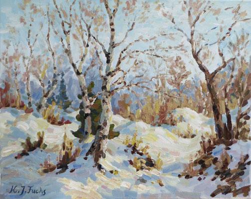Junge Birken im Winter   Acryl auf Leinwand   40 x 50 cm