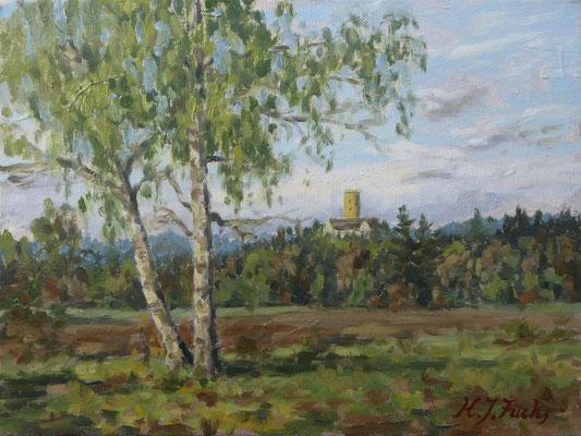 Schloss Wellenburg im Mai | Öl auf Leinwand | 30 x 40 cm |