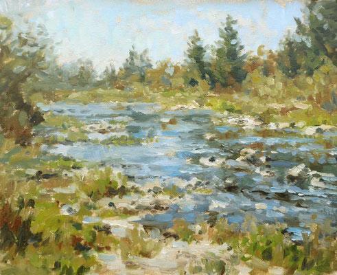Herbstmorgen an der Wertach   Öl auf Leinwand   40 x 50 cm  