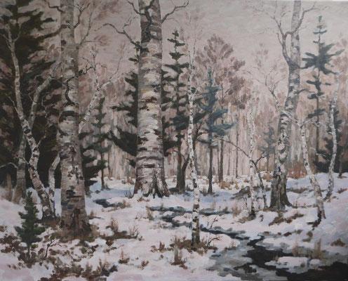 Birkenwald, Stille.   Öl auf Leinwand   80 x 100 cm   Unverkäuflich
