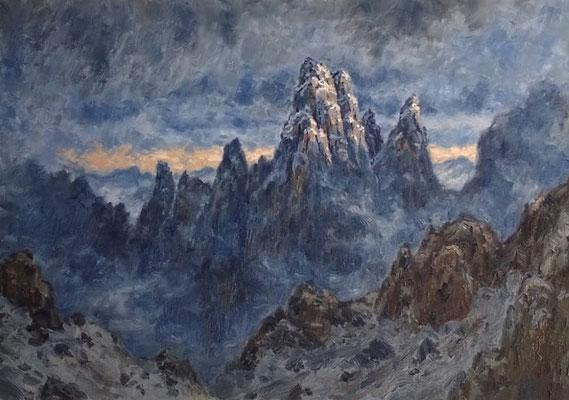 Gewitter über den Forminspitzen   Öl auf Leinwand   70 x 100 cm