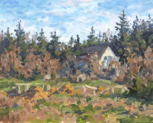 Haus am Waldrand in Pfersee, Studie   Öl auf Panel   20 x 30 cm