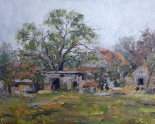 Alter Bauernhof am Morgen | Öl auf Panel | 40 * 50 cm | Verkauft