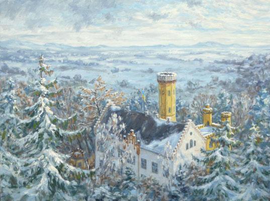 Schloss Wellenburg im Winter | Öl auf Panel | 60 * 80 cm | 2800€