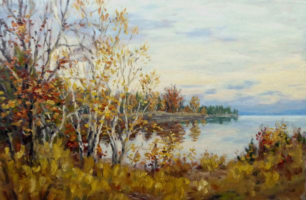 Am Seeufer, Oktober   Öl auf Leinwand   40 x 60 cm
