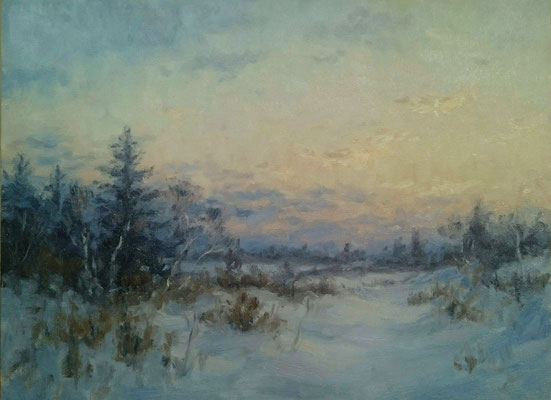 Wintermorgen   Öl auf Panel   30 x 40 cm