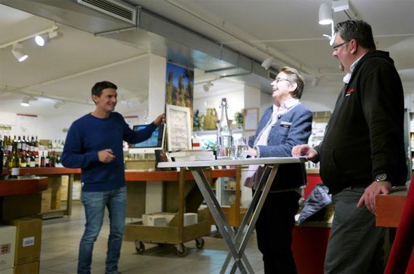 Gastgeber Ivan Gantchev mit Brigitte Lamberts und Andreas Kaminski