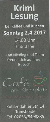 Lesung im Café am Kirchplatz, 2. April 2017