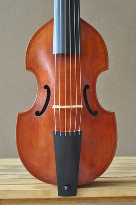 big treble viol, front view of the body - violworks