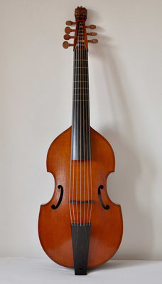 small 7 string bass viol after Claude Pierray, front view - violworks