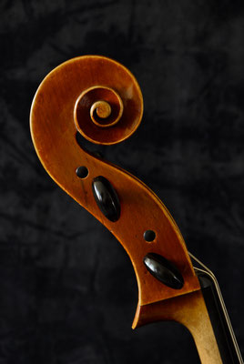 Cello scroll made from beech, side view - violworks
