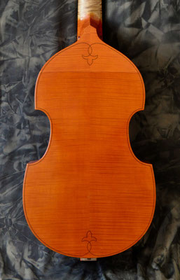 matching ornament on the back of the tenor viol - violworks