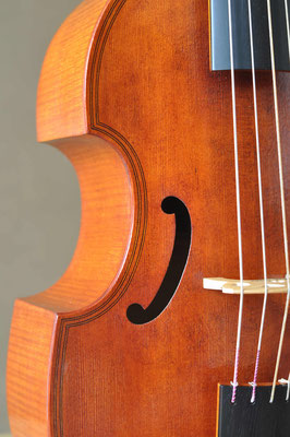 soundhole detail of big treble viol - violworks