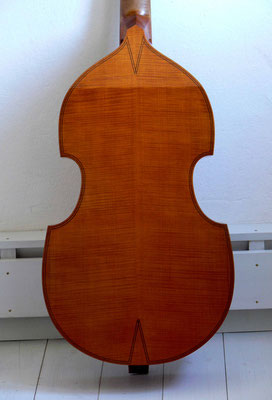 Edward Lewis bass viol, rear view - violworks