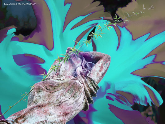 Estasi narcotica -  Interpretazione grafica che sembra corrispondere agli effetti provocati dall'assunzione di sostanze stupefacenti, ovvero, la pietrificazione della razionalità per l'esaltazione della visionaria incoscienza.
