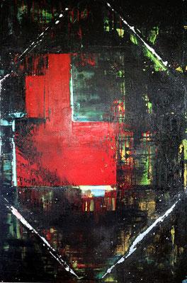 """Grotta rossa"" 150 cm x 100 cm, Spachteltechnik Acryl, Öl und Lack"