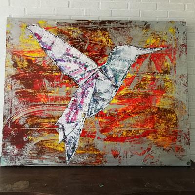 Kolibri 120cm ×100 cm oil/acryl/lack