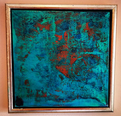"""Blues"", 30 cm x 30 cm inkl. Rahmen,Acryl - Lackspraytechnik"