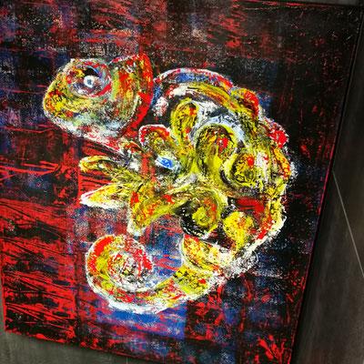 Chamäleon 100cm ×120cm oil, acryl, lack