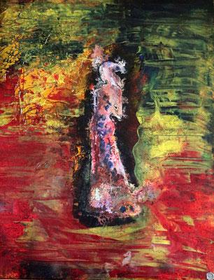 80 cm x 60 cm inkl. Rahmen - Mischtechnik Acryl, Öl, Spray