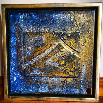"""Ardesia"" 30 cm x 30 cm, inkl. Rahmen, Schieferplatte mit  Acryl - Lackspraytechnik"