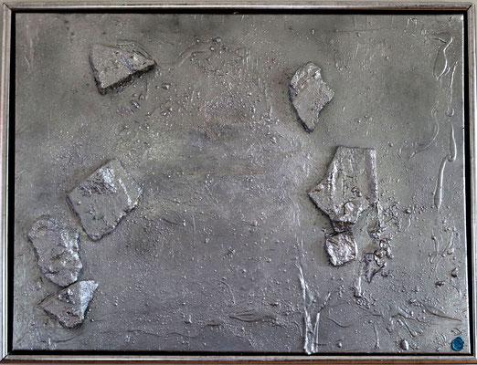 """Plattentektonik"" 80 cm x 60 cm inkl. Rahmen, Steinplatten mit  Acryl und Lackspray"
