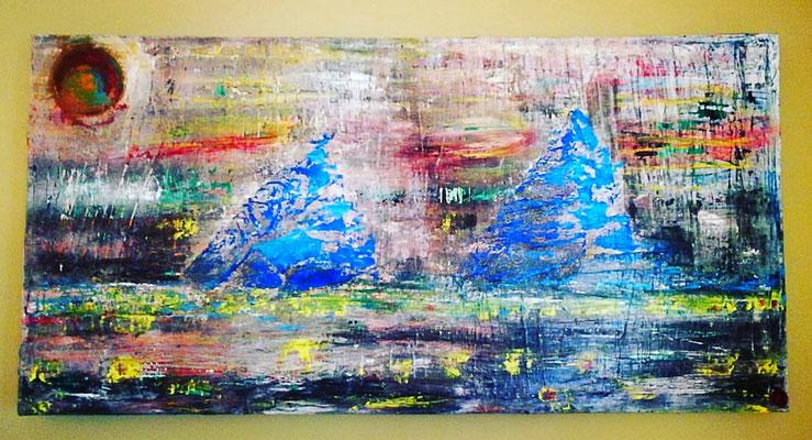 """""""Blaue Berge"""" 100 cm x 50 cm,  Acryl- Öl-Kratztechnik"""