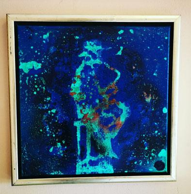 """""""Ocean"""", 30 cm x 30 cm inkl. Rahmen, Acryl - Lackspraytechnik"""