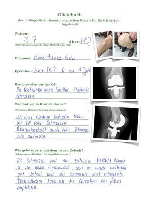 Kniegelenksverschleiß mit Innex Knieprothese Fa. Zimmer versorgt