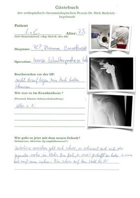 Frau L.C. Rheumapatientin mit guter linker Schulter - im Text spricht sie von der vor 2 Wochen operierten rechten Schulter Bilder folgen
