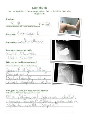 Herr F.R. mit Lima stemless Prothese Schulter bei schwerer Schultergelenksarthrose