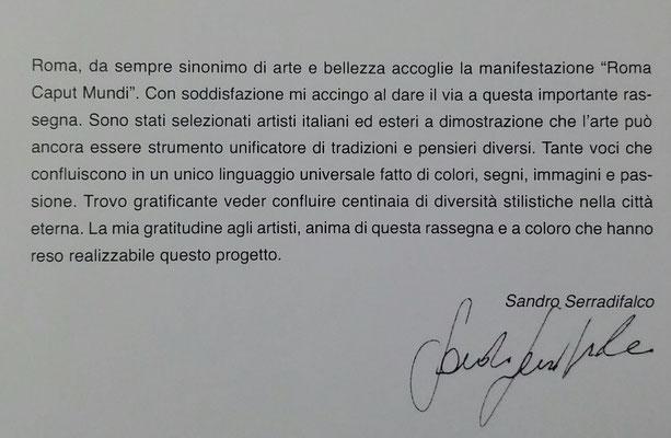 Sandro Serradifalco direttore del Premio internazionale - International Prize Roma Caput Mundi