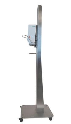 Handhygiene Desinfektionsspender Station zur Hand Desinfektion - DesiSTAND Aufsteller mit Rollen, mobil