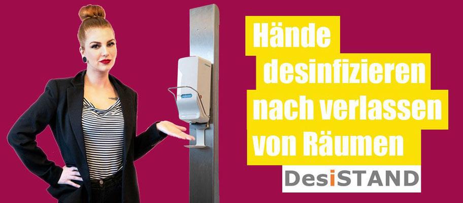 Desinfektionsspender Säule mit Armhebel Dosierspender Desinfektionständer, DesiSTAND.at
