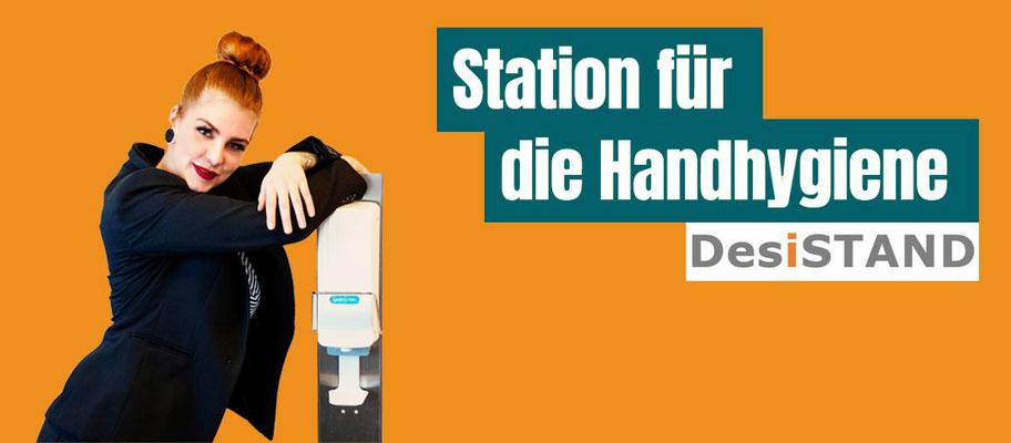 Desinfektionsstation DesiSTAND Säulen mit Dosierspender für die Handhygiene Desinfektionsständer