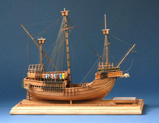 2 フランダースの武装商船 Flemish Armed Ship  年代: 1470年  船籍:ベルギー  縮尺: 1/80    スクラッチビルト  製作者:淺川英明  製作期間:  1年