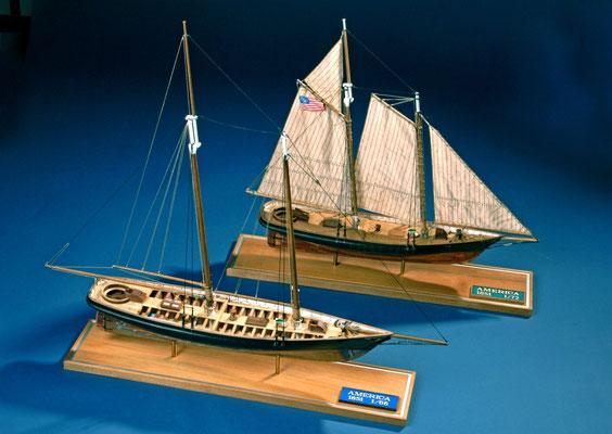 26 スクーナー・アメリカ  schooner AMERICA  年代:    1851    船籍:アメリカ  縮尺:    1/72&1/66 ビリング&マモリ  製作者:  安藤雅浩  製作期間:1年