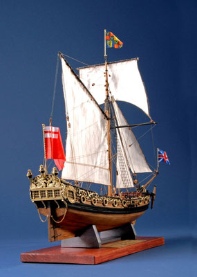 10 チャールズ・ヨット Charles Yacht 年代:    1674年  船籍:  イギリス  縮尺:    1/64    ウッディジョー      製作者:高橋恒夫   製作期間: 6ヶ月