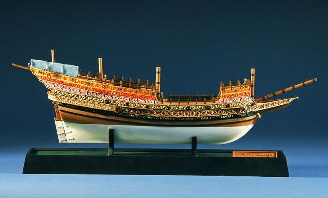 35-11  船名   フランダースのガレオン船 FLEMISH GALLEON   年代   1593     船籍  スペイン         素材   自作   Scratch built    製作者  安藤 雅浩  Masahiro Ando