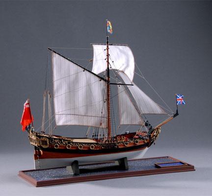 36-13 チャールズ・ロイヤル・ヨット Charles Royal Yacht  1674年  イギリス 1/64 キット ウッディジョー(Woody Joe) 塩谷敏夫 Toshio Shioya (教室講師作品)
