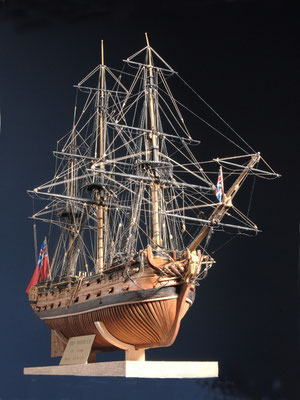 41    ローバック    H.M.S ROEBUCK  年代:   1744  船籍:   イギリス  縮尺:    1/96    スクラッチビルト  製作者: 梅田安次  製作期間: 3年