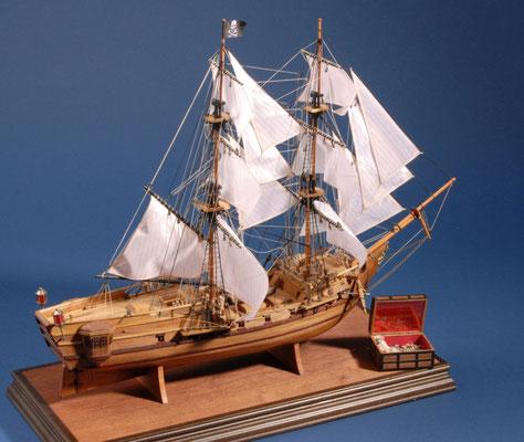 7 ブラック・ファルコン BLACK FALCON  年代:    17世紀  船籍: イギリス 縮尺:    1/100    マンチュア社キット  製作者: 岩倉義昌  製作期間:1年