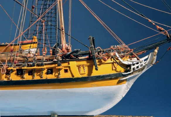 20 ラトルスネーク RATTLESNAKE  年代:    1780   船籍: アメリカ  縮尺:    1/64    モデルシップウェイ  製作期間:  奥村義也  製作期間:   1年