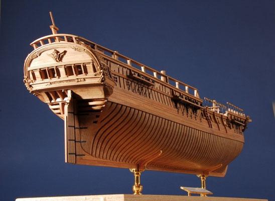 35-49 グロス・ベントレ LE GRIS VENTRE   年代   1766     船籍  フランス    縮尺 1/48     素材   自作   Scratch built    製作者  久保田 榮一 Eiichi Kubota